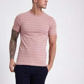 River Island Mens Pink stripe muscle fit T-shirt