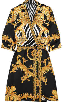Versace - Wrap-effect Printed Silk-twill Mini Dress - Gold