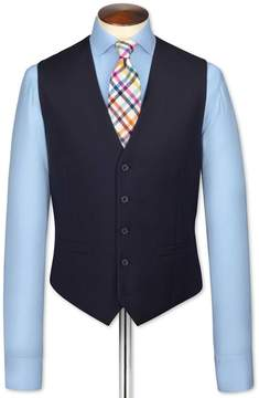 Charles Tyrwhitt Navy Adjustable Fit Twill Business Suit Wool Vest Size w40