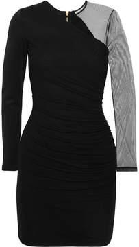 Balmain Tulle-paneled Stretch-jersey Mini Dress - Black