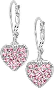 Swarovski Chanteur Jewelry 18K White Gold Plated Sterling Silver Pave Crystal Accent Heart Drop Earrings