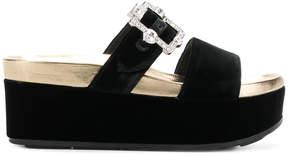 Prada embellished flatform slides