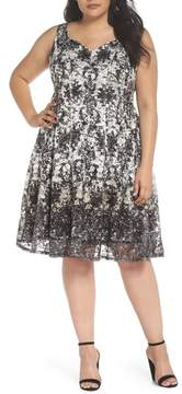 Gabby Skye Printed Lace Fit & Flare Dress