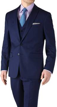 Charles Tyrwhitt Royal Blue Slim Fit Twill Business Suit Wool Jacket Size 36