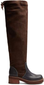 See by Chloe Dominika suede and leather knee-high boots