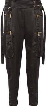 Balmain Cropped Stretch-jersey Paneled Satin-twill Tapered Pants - Black