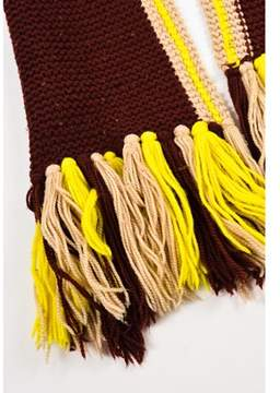 Marc Jacobs Pre-owned Burgundy Yellow Tan Wool Knit Tassel End Scarf.