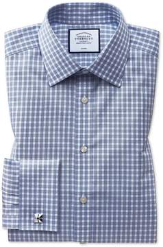 Charles Tyrwhitt Classic Fit Non-Iron Twill Gingham Blue Cotton Dress Shirt Single Cuff Size 15/35