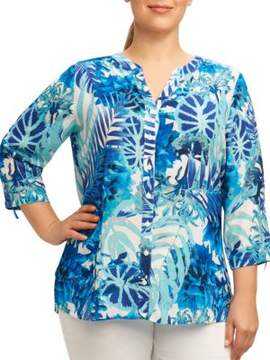 Foxcroft Plus Printed Button-Front Shirt