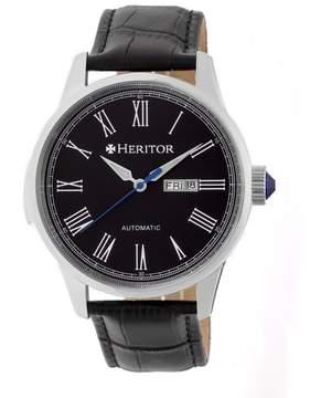 Heritor Prescott Black Dial Black Leather Strap Automatic Men's Watch