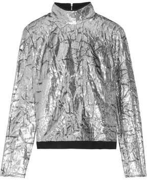 DELPOZO Silk-Trimmed Metallic Velvet Top