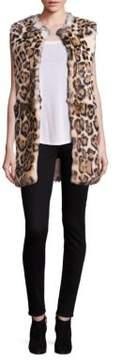 Adrienne Landau Leopard-Print Rabbit Fur Vest