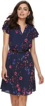 Elle Women's Print Layered-Sleeve Fit & Flare Dress