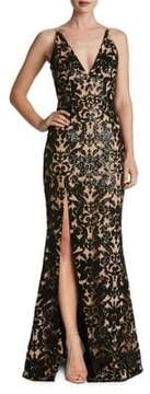 Dress the Population Plunging Sequined Lace Mermaid Gown