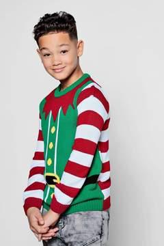 boohoo Boys Elf Christmas Jumper