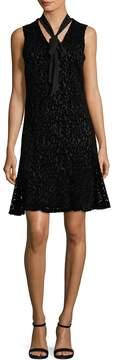 Karl Lagerfeld Women's Burnout Velvet Cotton Dress With Bow Neck