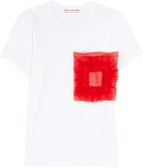 Comme des Garcons Organza-appliquéd Cotton-jersey T-shirt - White