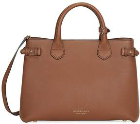Burberry Medium Banner House Check Leather Tote - Tan