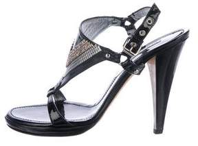 Versace Embellished Patent Leather Sandals