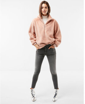 Express oversized half zip fleece top