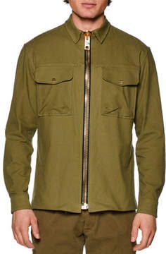 Palm Angels Maxi Zip-Up Military Jacket, Military Green