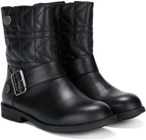 Karl Lagerfeld embossed biker boots