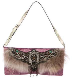 Etro Velvet Fur-Trimmed Shoulder Bag