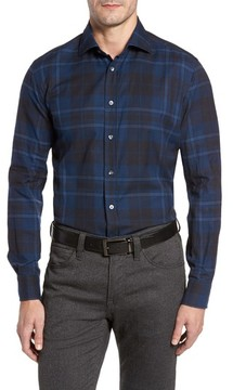 Luciano Barbera Men's Trim Fit Plaid Sport Shirt