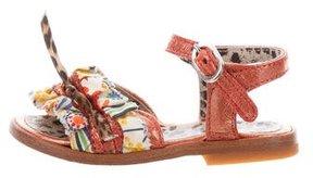 Roberto Cavalli Girls' Ruffle-Trimmed Metallic Sandals