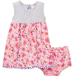 Tucker + Tate Contrast Piping Dress & Diaper Cover Set (Baby Girls)