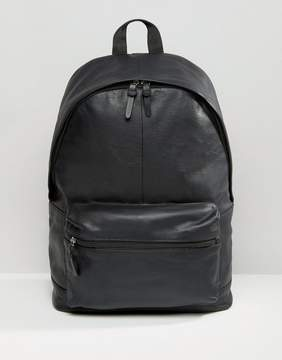Asos Leather Backpack In Black