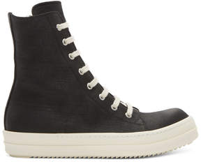 Rick Owens Black and Off-White Canvas Vegan High-Top Sneakers