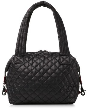 MZ Wallace 'Medium Sutton' Quilted Oxford Nylon Shoulder Tote - Black