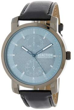Kenneth Cole Reaction Men's 3 Hand Leather Strap Watch, 46mm