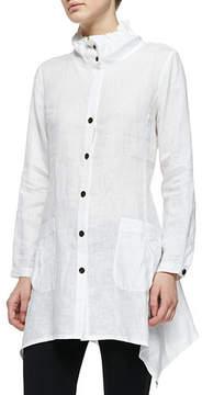 Go Silk Ruffle-Collar Linen Drama Big Shirt, Petite