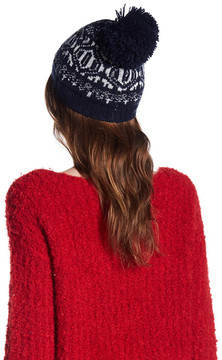 Joe Fresh Fairlisle Metallic Print Pom Pom Beanie
