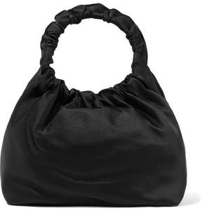 The Row Double Circle Small Satin Tote - Black