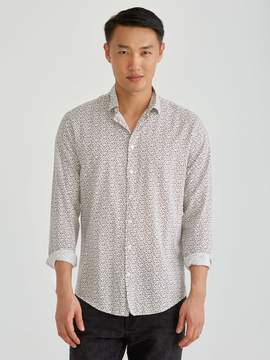 Frank and Oak Super Soft Mini Floral All Over Print Shirt in White/Navy