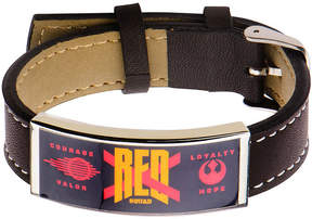 Star Wars FINE JEWELRY Stainless Steel & Leather Episode VII Red X ID Bracelet