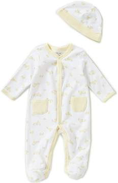 Little Me Preemie-9 Months Cute Ducks Footed Coverall & Hat Set