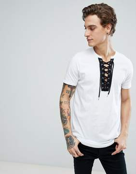 Asos Longline T-Shirt With Curved Hem And Deep V Contrast Lace Up Neck