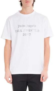 Palm Angels Reflective Logo Cotton T-Shirt, White