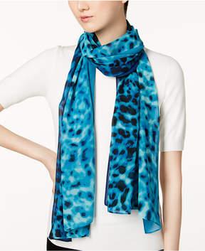 Calvin Klein Ombre Leopard-Print Chiffon Scarf