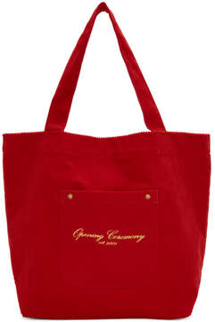 Opening Ceremony Red Corduroy Big Pocket Tote