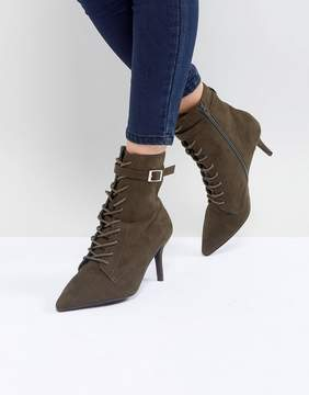 Faith Bing Lace Up Kitten Heel Ankle Boots