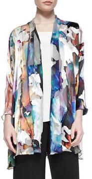 Caroline Rose Hand-Painted Silk-Blend Devore Cardigan