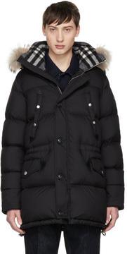 Burberry Black Down Hartson Coat