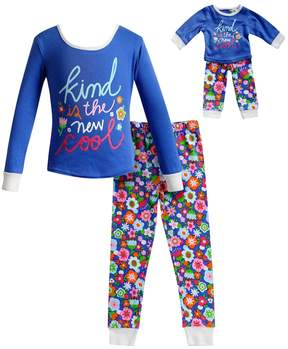 Dollie & Me Girls 4-14 Kind is the New Cool Floral Top & Bottoms Pajama Set
