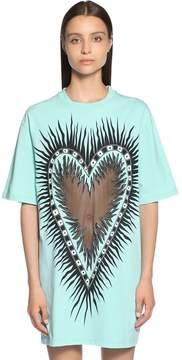 Fausto Puglisi Oversized Tulle Heart Jersey T-Shirt