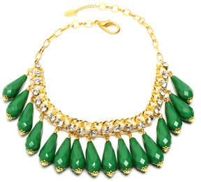 Amrita Singh Goldtone & Evergreen Crystal Milly Necklace